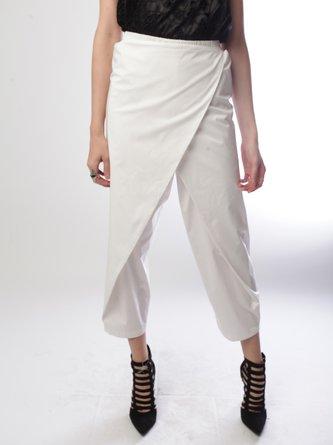 Plus Size White Cotton Folds Casual Straight Leg Pants