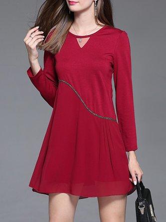Solid See-through Look Long Sleeve Mini Dress