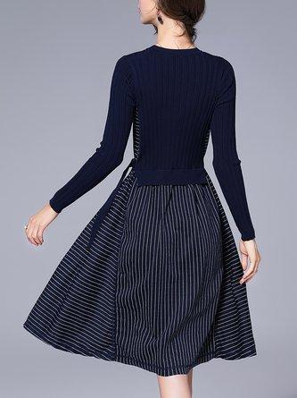 Navy Blue A-line Paneled Statement Midi Dress
