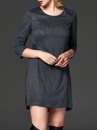 Gray Mini Dress Daytime 3/4 Sleeve Casual Dress