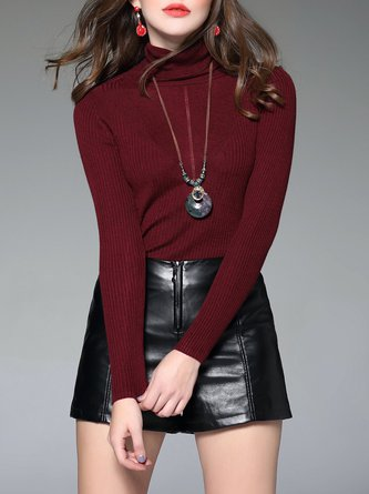 Turtleneck Long Sleeve Casual Solid Wool Blend Sweater