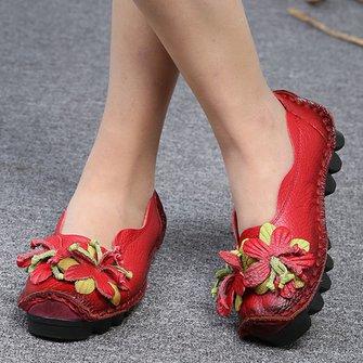 Flower Cowhide Women's Slip-On Flats