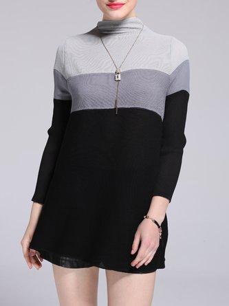 Shift Color-block Casual Long Sleeve Mini Dress