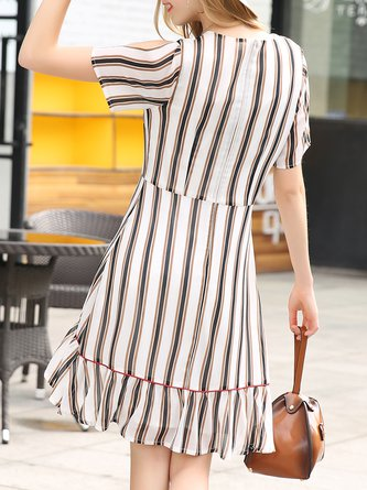 Apricot Stripes Casual Cutout Midi Dress