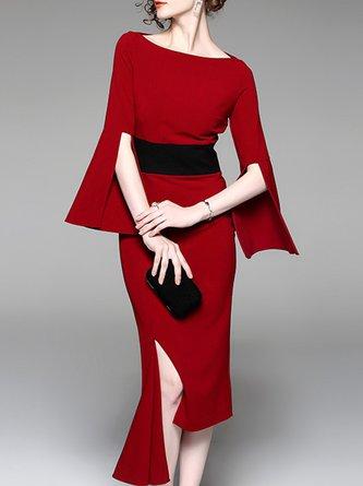 Burgundy Paneled Sheath Statement Midi Dress