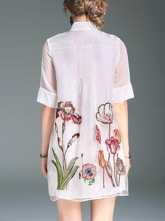 White Midi Dress Shift Daytime Embroidered Floral Dress