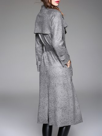 Long Sleeve Simple Pockets Trench Coat with Belt