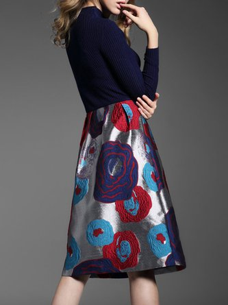 A-line Long Sleeve Floral Casual Sweater Dress