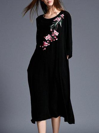 Vintage Linen Black Long Sleeve Midi Dress
