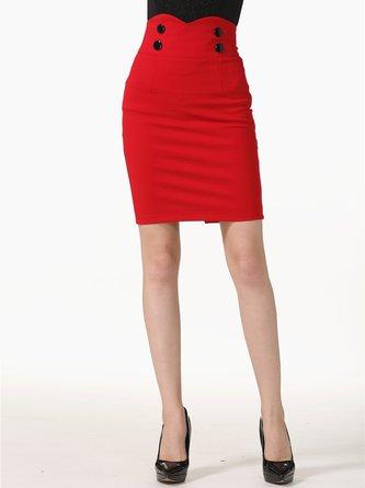 Plus Size  Casual Solid Sheath Midi Skirt