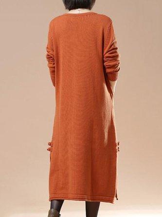 Orange Shift Daily Long Sleeve Cotton Slit Solid Linen Dress