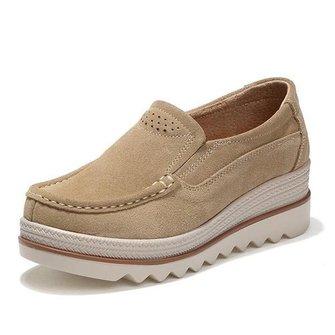 Casual Platform Slip On Suede Shoes