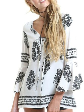 White Shift Abstract V Neck Bell Sleeve Printed Bow Blouse