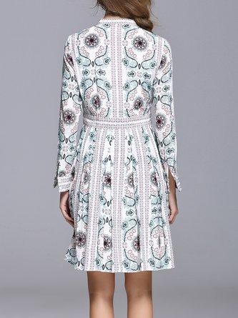 Printed A-line Holiday Midi Dress