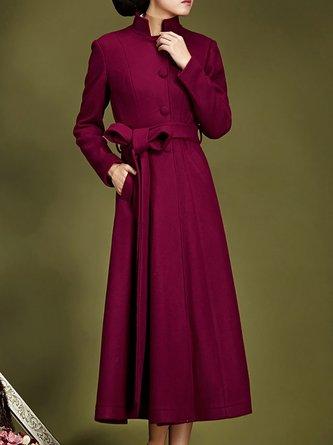 Burgundy Elegant Buttoned Pockets A-Line Elegant Coats