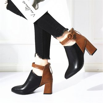 Black Daily Spring/fall Pu Boots