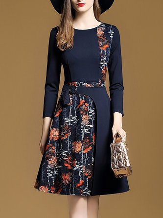 Dark Blue A-Line Daily Paneled Midi Dress