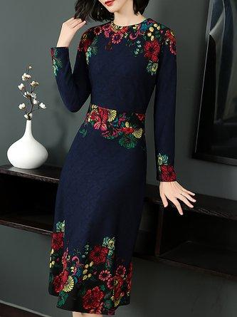 A-Line Daytime Statement Printed Midi Dress
