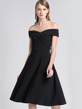 e50f4f771bd0 Off Shoulder Black A-Line Midi Dress