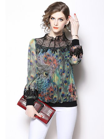 Black Paneled Beaded Stand Collar Long Sleeve Blouses