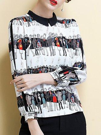 Color-Block Shirred Shirt Collar Printed Blouses