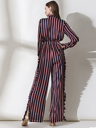Red Shirt Collar Work Striped  Top With Pants