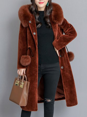 Long Sleeve Solid Pockets Hoodie Fur And Shearling Coats
