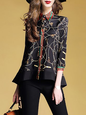 Black Flounce Casual 3/4 Sleeve Printed Blouses