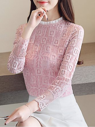 Sweet Stand Collar Guipure Lace Solid Blouses