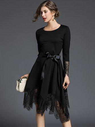 b6933c282850 Statement Asymmetrical Black Party Midi Dress