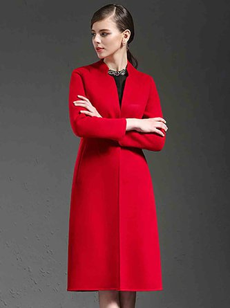 Buttoned Pockets Shift Stand Collar Coats