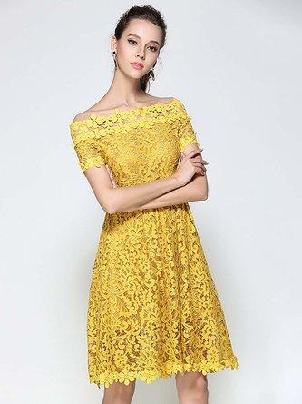 1d516b6355df Off Shoulder Yellow A-Line Cocktail Midi Dress. Quick Shop