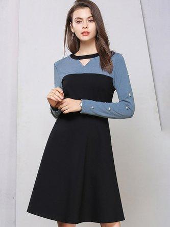 2be8c22eb916a Black-Blue Shift Keyhole Casual Sweater Dress