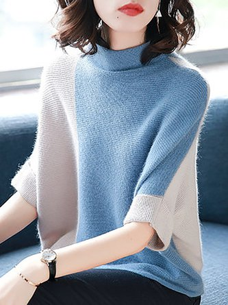 d0d7af9eb4795 Batwing Solid Shift Color-Block Knitted Casual Sweater