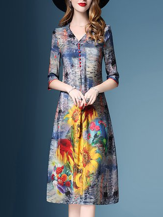 V Neck Shift Painted Floral Midi Dress