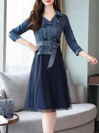 03a70954cf Lapel A-Line Elegant Denim Paneled Midi Dress