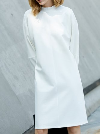 Batwing Solid Stand Collar Shift Tunics