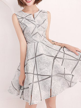 53e2e01fc0 Sliver Prom Elegant A-Line Cocktail Midi Dress