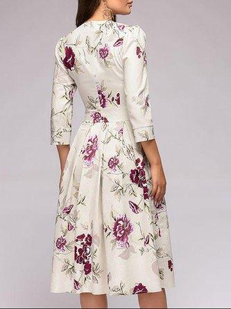 Beige A-Line Paneled Floral Party Midi Dress
