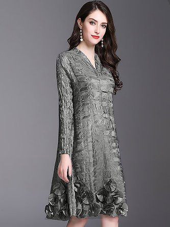 Elegant Shift V neck Pleated Embossed Statement Midi Dress