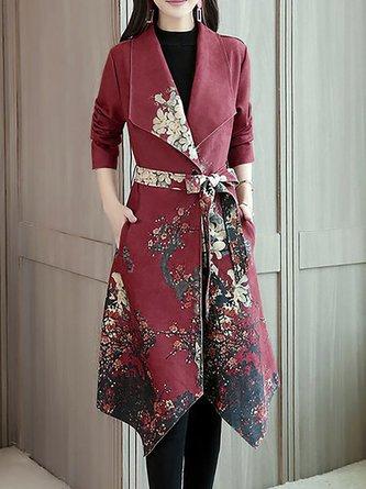 Floral-Print Asymmetrical Shawl Collar Coats