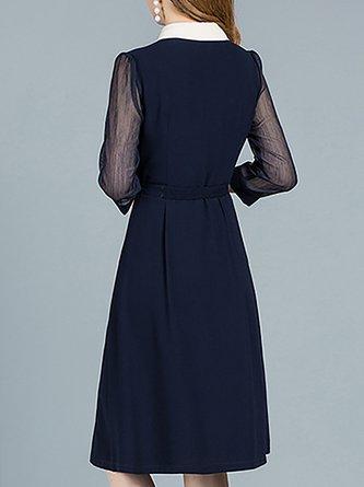 e4b54db3db2 Shirt Collar Navy Blue Paneled Midi Dress