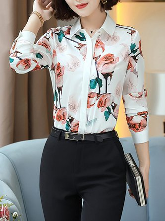 Long Sleeve Floral Printed Work Chiffon Blouses