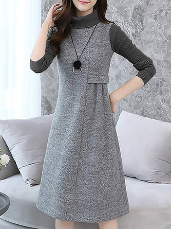 d749b4ae51e Turtleneck Wool A-Line Knitted Casual Sweater Dresses