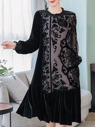 Ruffled Black Shift Velvet Floral Paneled Midi Dress