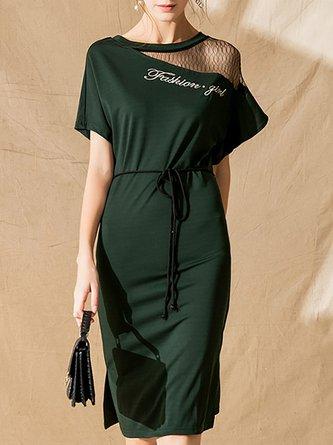 fee383f41fc Army Green Bodycon Daily Letter Paneled Midi Dress