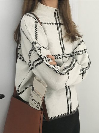 Long Sleeve Knitted Casual Checkered/plaid Sweater