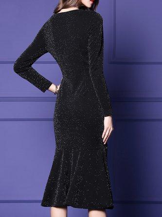 V Neck Black Sheath Daily Shimmer Midi Dress