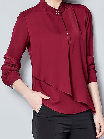 Work Asymmetrical Folds Stand Collar Blouses