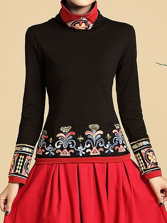 Embroidered Paneled Casual Top